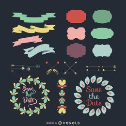 Flat ornamental decorations collection