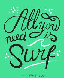 Todo lo que necesitas es surfear póster.