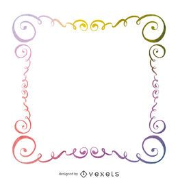 Watercolor swirls frame