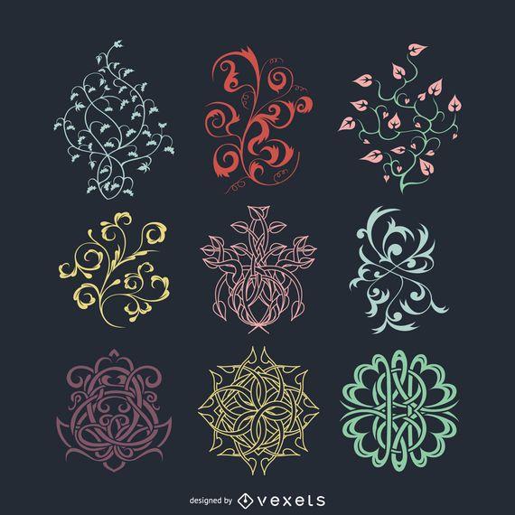 Floral, celtic and vintage ornaments