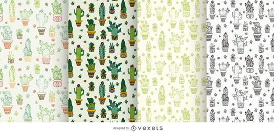 Colección de patrones de cactus.