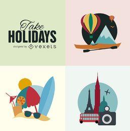 feriados planas ilustração