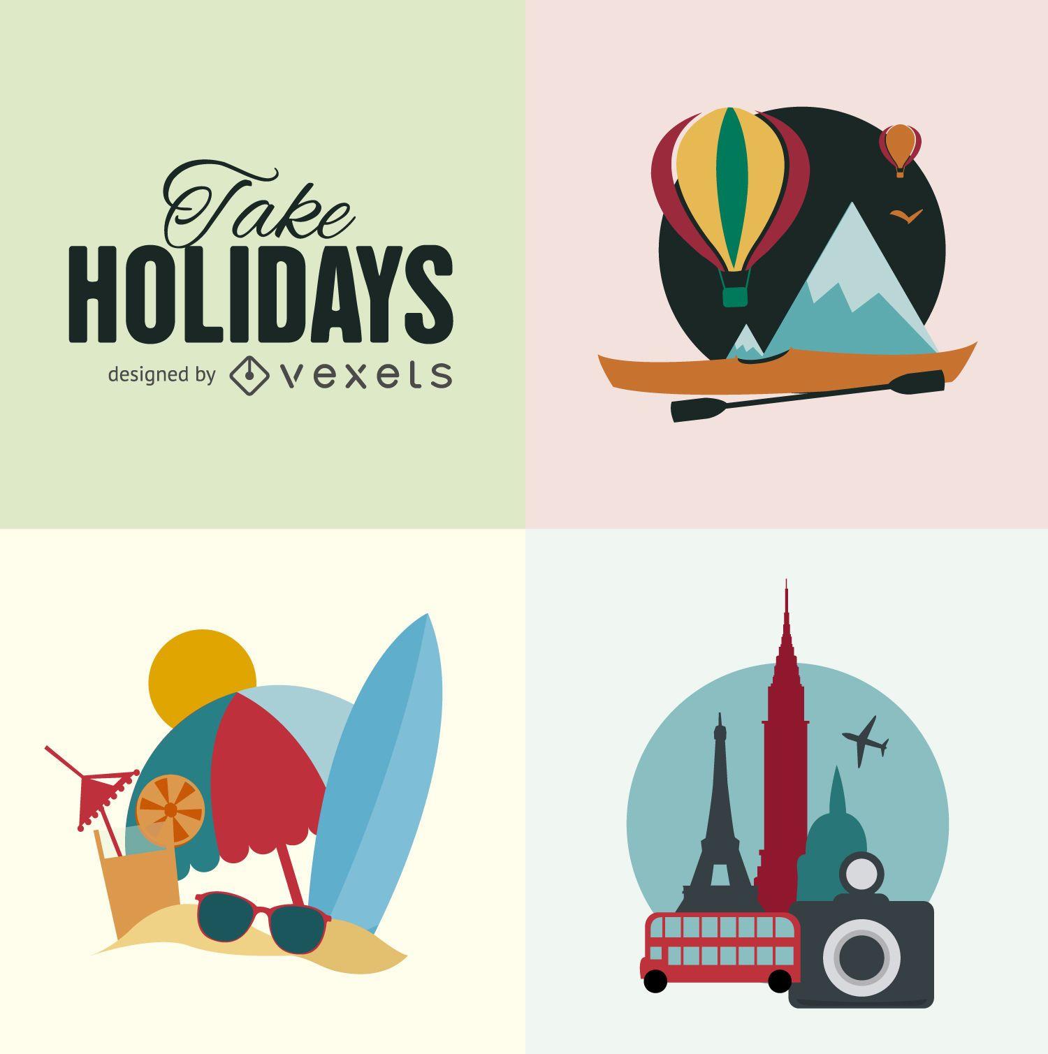 Ilustración de vacaciones planas