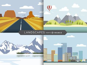 Flat illustrated landscape set