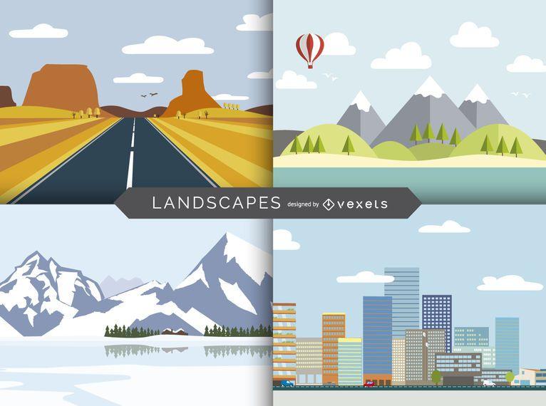 Conjunto de paisaje plano ilustrado