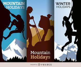 Ilustraciones de vacaciones de invierno de montaña