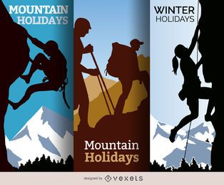 Mountain winter holidays illustrations