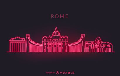 Silhueta de horizonte de néon de Roma