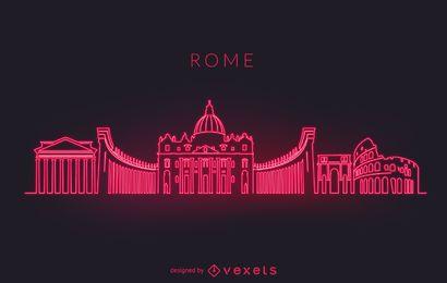 Silhueta do horizonte do néon de Roma