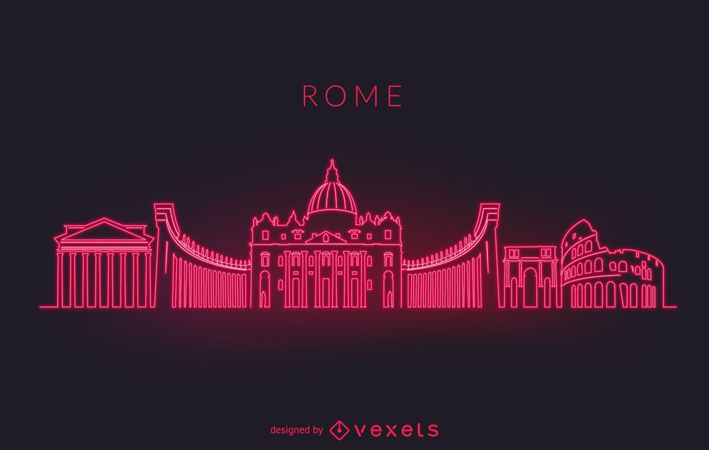 Rome neon skyline silhouette - Vector download