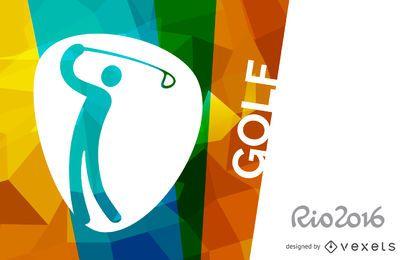 Banner de pictograma de golf Rio 2016