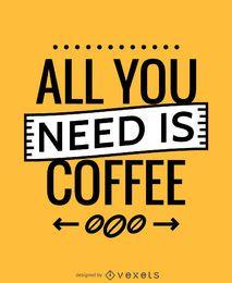 Tudo que você precisa é cartaz do café