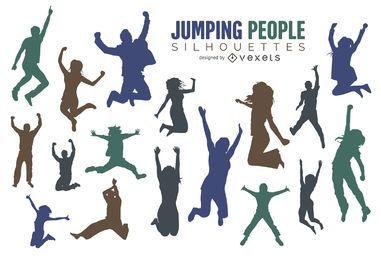 Conjunto de silueta de personas saltando