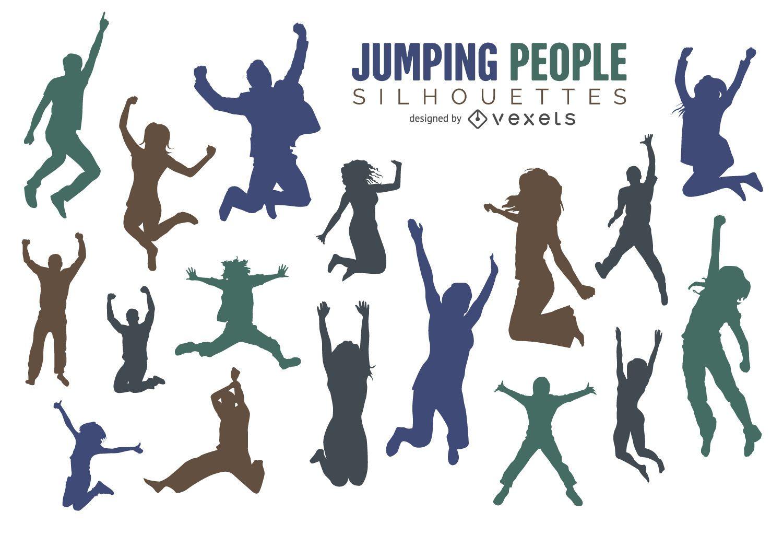 Conjunto de silhueta de pessoas pulando