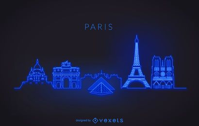 Neon Paris skyline silhouette