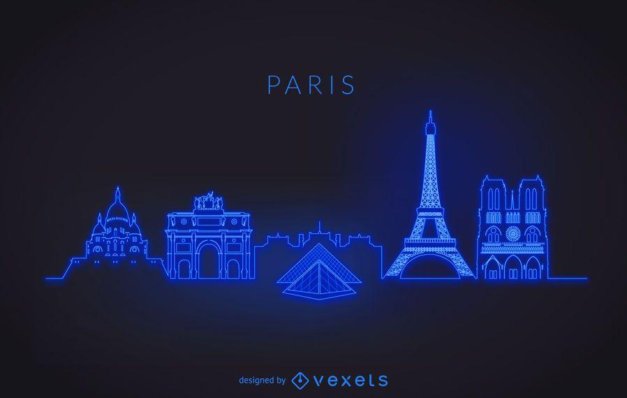 Silhueta de horizonte de Paris de néon