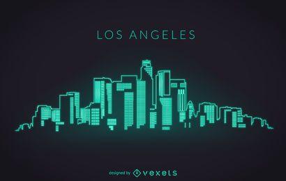 Los Angeles skyline neon