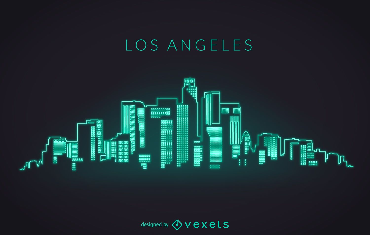 Los angeles neon skyline vector download Logo designers los angeles