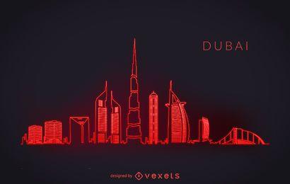 Skyline de Dubai de néon
