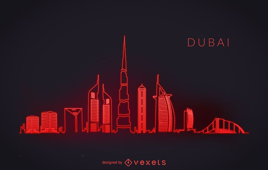 Neon Dubai skyline