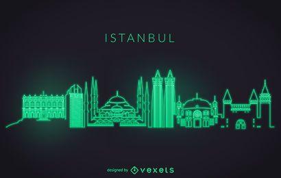 Skyline de Istambul de néon