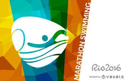 Cartaz de natação maratona Rio 2016