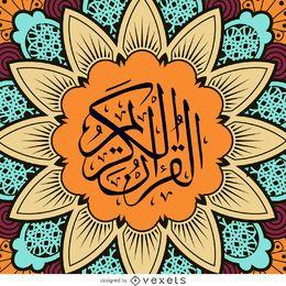 Mandala de la flor con la caligrafía árabe