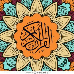 Quran design with mandala flower