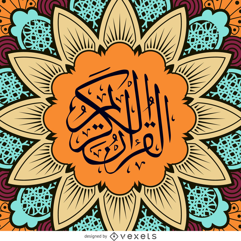 Quran design with mandala flower