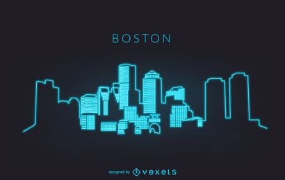 Neon Boston skyline silhouette