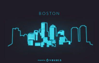 Silueta de horizonte de neón Boston