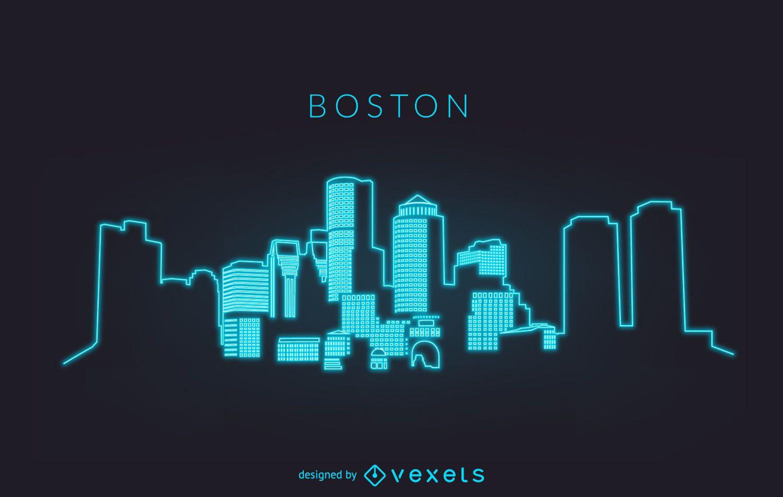 Neon Boston skyline silhouette
