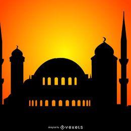 Mezquita silueta ilustración