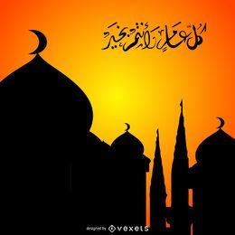 Silueta de mezquitas con caligrafía.