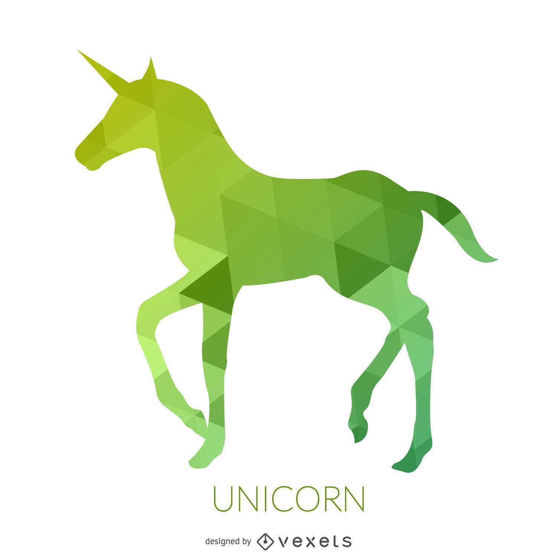 Silueta de unicornio verde