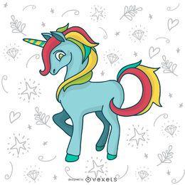 Dibujo de doodle de unicornio colorido