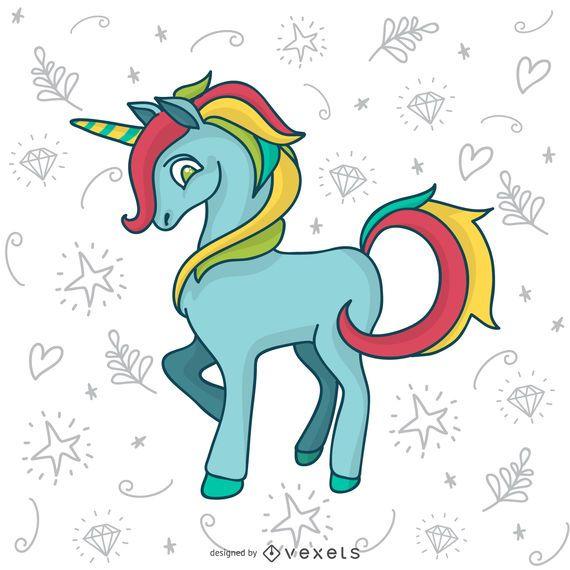 Colorful unicorn doodle drawing
