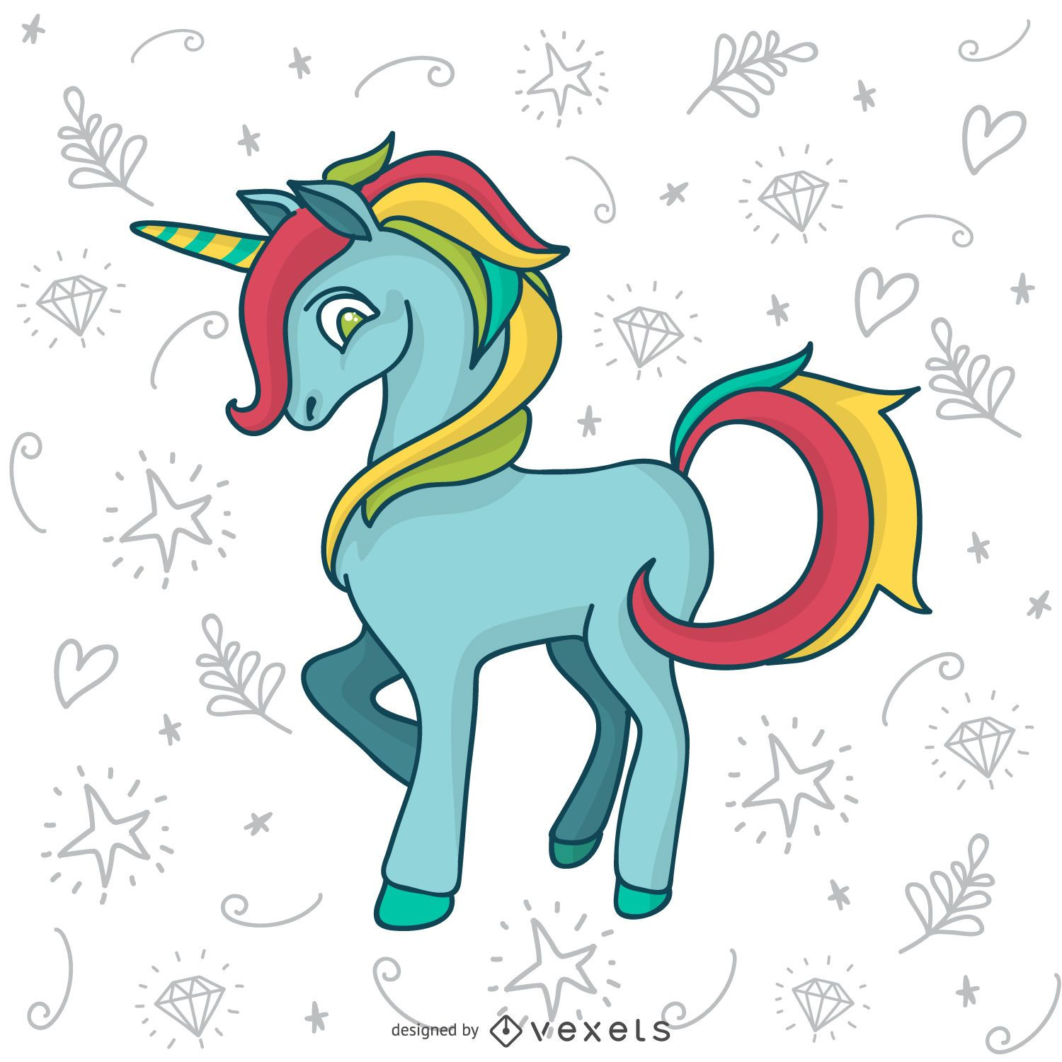 Colorful unicorn doodle drawing - Vector download