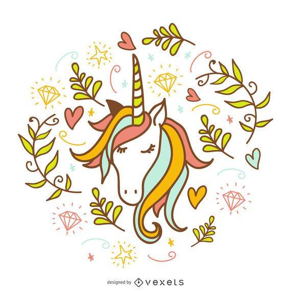 Doodle de unicornio con decoraciones.