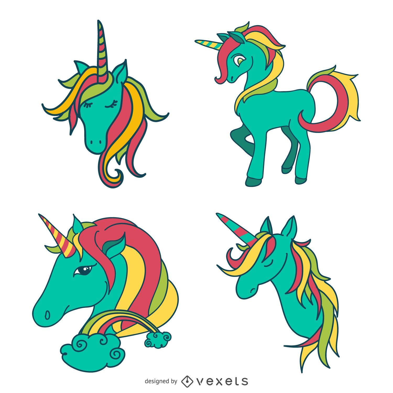Unicorn doodles set