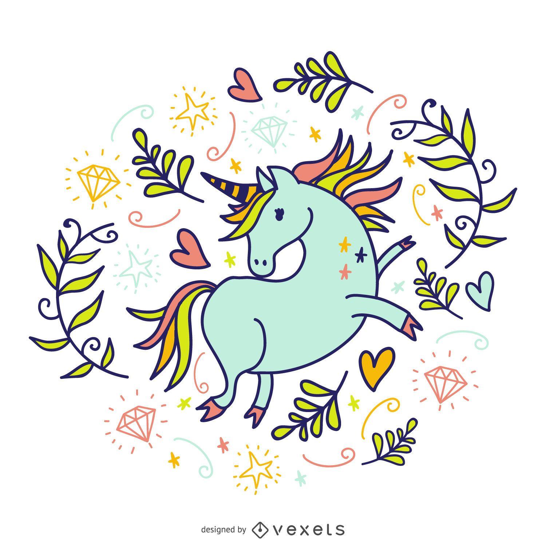 Unicornio garabateado con elementos.