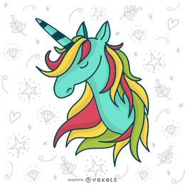 Unicornio dibujado a mano