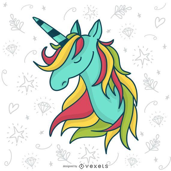 Dibujado a mano ilustración de unicornio