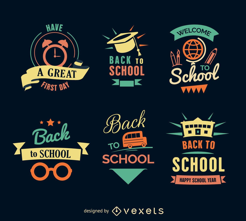 Conjunto de etiquetas de regreso a la escuela