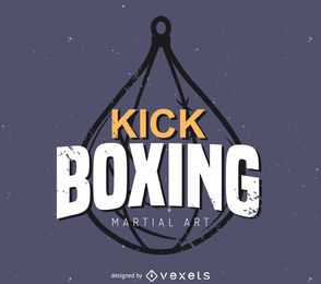 Kick boxing label logo template