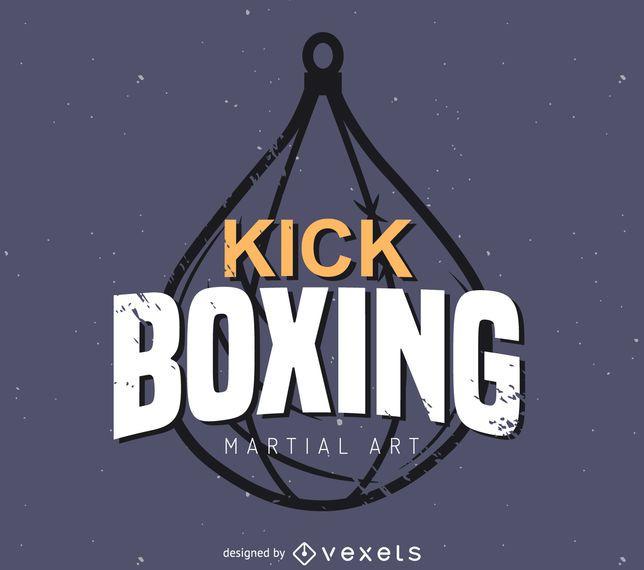 Kick boxing label logo template