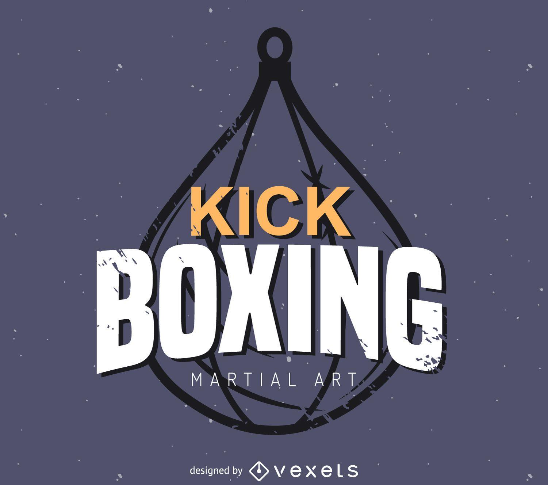 Plantilla de logotipo de etiqueta de kick boxing