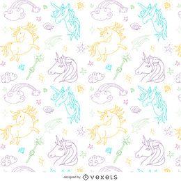 Patrón de dibujo de contorno de unicornio