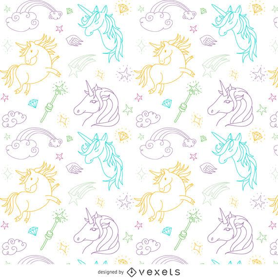 Unicorn outline drawing pattern