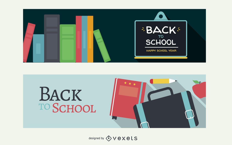 Banners planos de regreso a la escuela